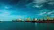 Big cargo ships with containers timelapse