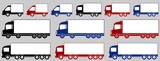 set of colorful delivery trucks