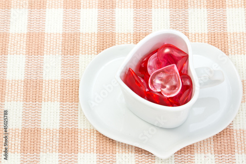 Red and pink heart and heart shaped coffee cup