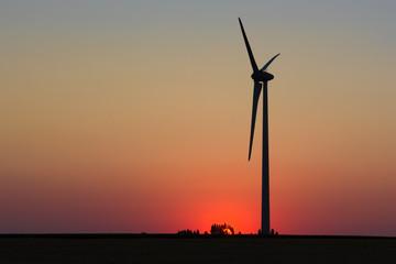 Ombre chinoise d'éolienne au soleil couchant