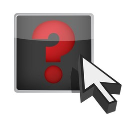 question mark and cursor illustration design over white