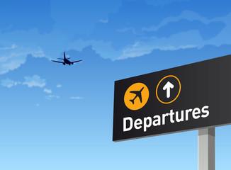 Aéroport, avion, voyage, départ