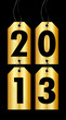 """2013"" 4 Golden Hangtags Black Background"