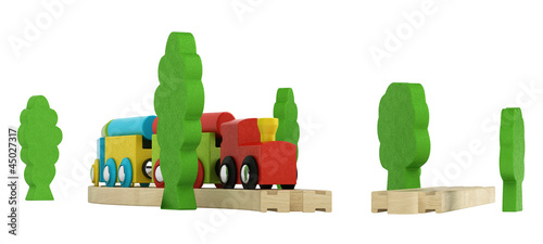 Colourful wooden model train