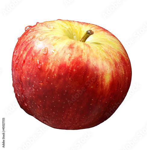 rot-gelber Apfel freigestellt, weißer Hintergrund