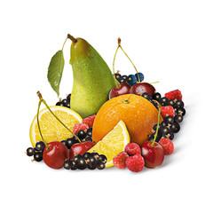 Obst-Komposition auf weißen Hintergrund