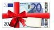 20 Euro mit roter Schleife und Etikett