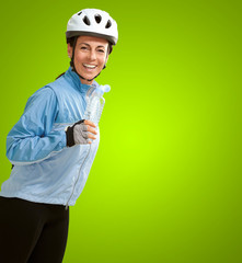 Portrait Of Cyclist Middle Aged Woman