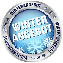 """Button """"Winterangebot"""" blau/silber"""
