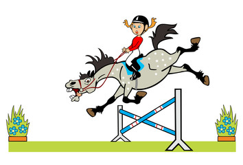 little girl with cheerful pony jumping fence