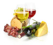 barrel, bottle and glasses of wine, cheese and ripe grapes