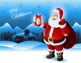 Santa Claus holding a gift box greeting card design