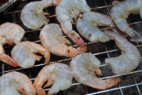 Grilled prawns on the barbecue