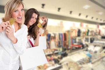 Three girls on a shopping spree
