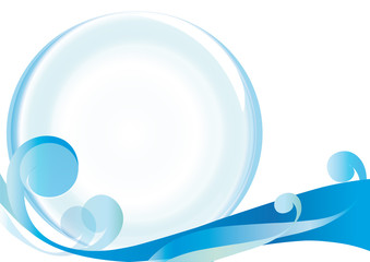 abstraction, glass ball, curl, on a white background