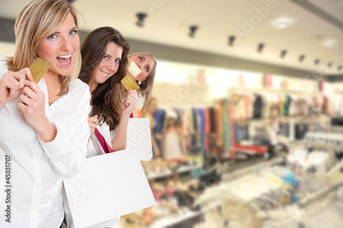 Three girls on a shopping spree