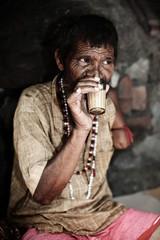 Indian man drinking  masala chai