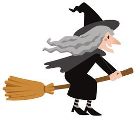 ハロウィン 空飛ぶ魔女 おばあさん