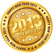 "Button ""2013 - Happy New Year"" Gold"