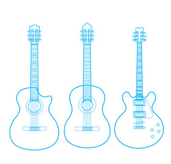 Vector silhouettes of classic guitars isolated on white,