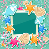 Photo Frame with Fish Starfish Coral and Seashell