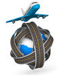Roads round globe and airplane on white background. Isolated 3D