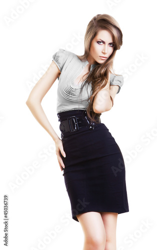 sexy pretty businesswoman in skirt