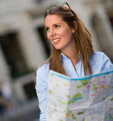 Lost woman with a map