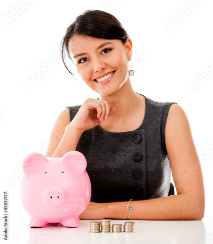 Business woman saving money