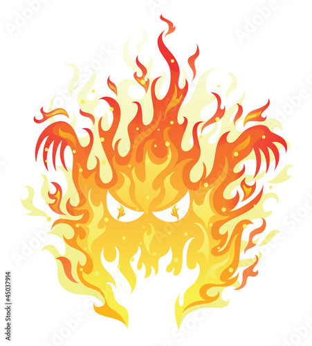 Angry face in a fire on the white background.