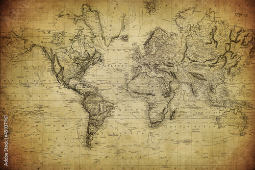 Poster, Tablou vintage map of the world 1814..