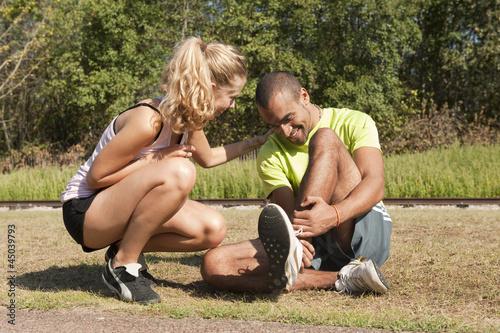 Sport au parc - se fouler la cheville