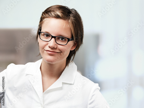 smart young lady with askant glance