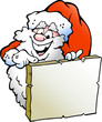 Vector illustration of an Happy Santa pointing to a sign