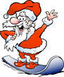 Hand-drawn Vector illustration of an Happy Santa on snowboard