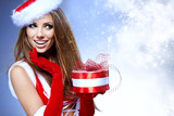 Beautiful young woman in Santa Claus clothes