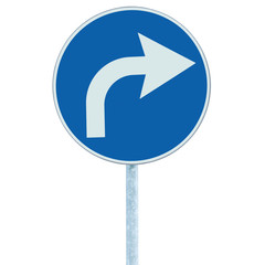 Turn right ahead sign, blue round isolated roadside traffic sign