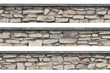 Stone fence panorama, panoramic stonewall, isolated limestone