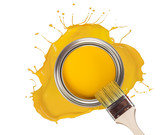 Fototapety Yellow paint splashed out from can, isolated on white background