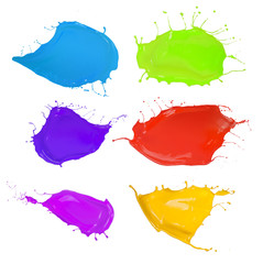 Shot of colored paints splashes blobs on white background