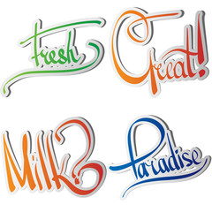 Set of various drawn and rendered. Lettering label
