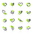 Eco-themed elements in shape of heart. Vector logo template set