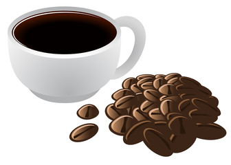 Brewed Coffee in Cup and Coffee Beans Vector Illustration