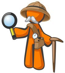Orange Man Explorer with Magnifying Glass
