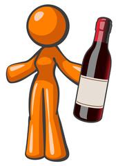 Orange Lady Holding Vintage Wine Bottle Large