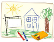 Blank Real Estate Sign, Child's Crayon Drawing, house, landscape