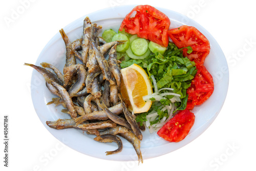 Fried Fishes with Salad