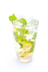 Mojito cocktail mixed with mint,lime and sugar