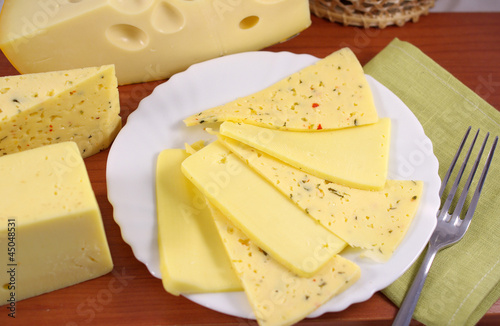 Different varieties of cheese slices