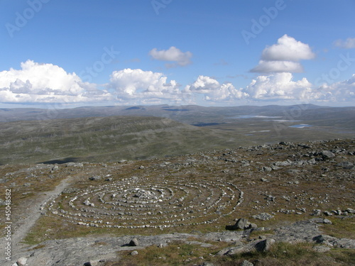 Sacred Sami circle on the top of Saana mountain, Lapland